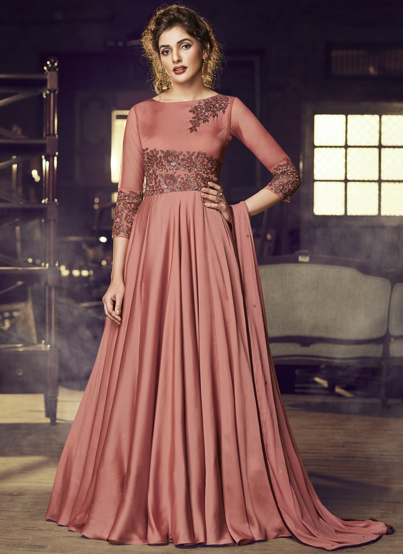 Embroidered Work Satin Readymade Long Length Gown