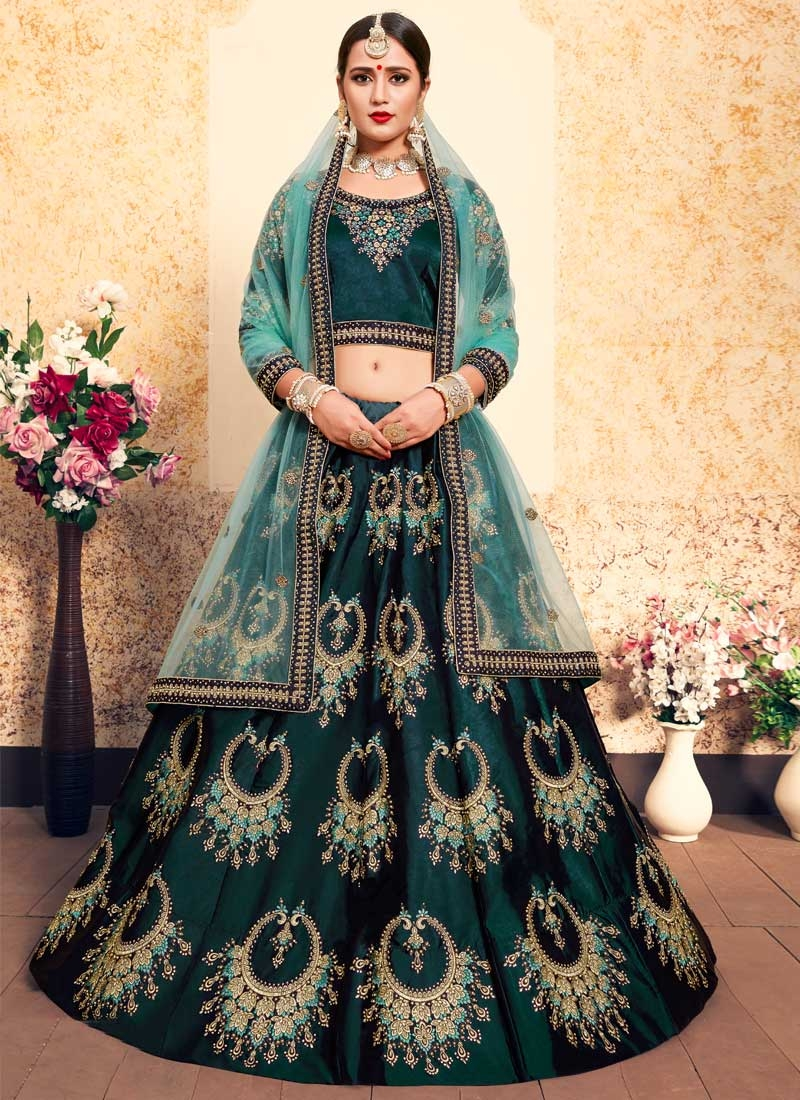 Embroidered Work Satin Silk A - Line Lehenga