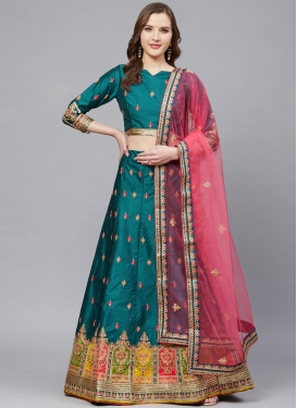Embroidered Work Satin Silk A Line Lehenga Choli