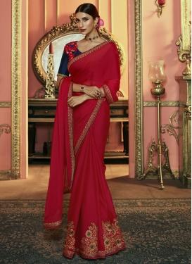 Embroidered Work Satin Silk Classic Saree