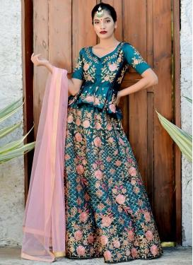 Embroidered Work Satin Silk Designer A Line Lehenga Choli