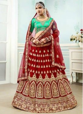 Embroidered Work Satin Silk Designer Classic Lehenga Choli