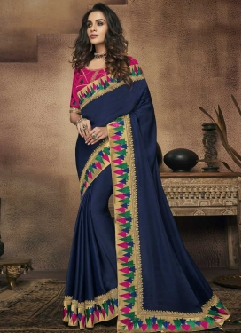 Embroidered Work Satin Silk Designer Contemporary Saree