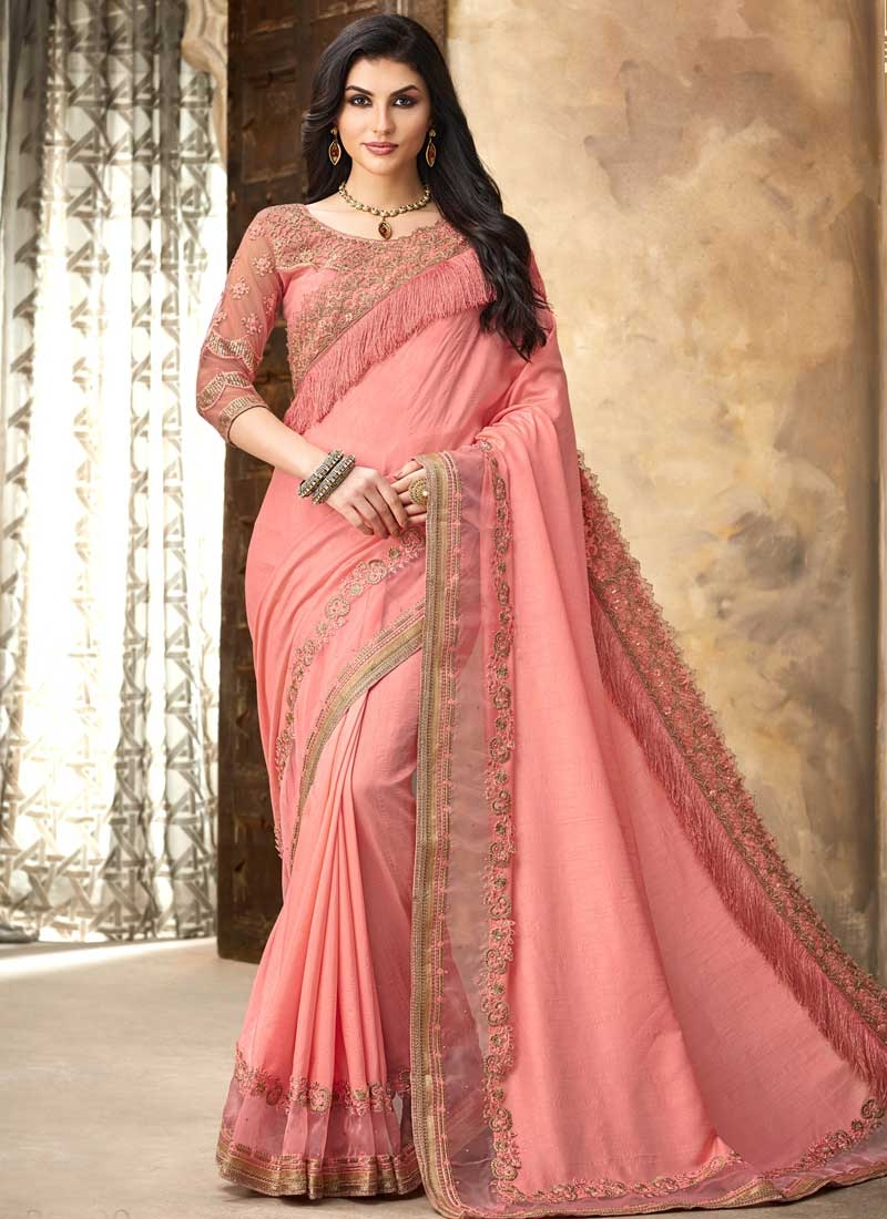 Embroidered Work Satin Silk Designer Contemporary Style Saree