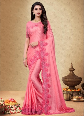 Embroidered Work Satin Silk Designer Contemporary Style Saree For Festival