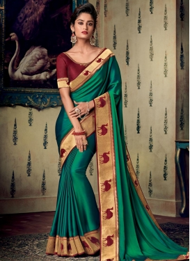 Embroidered Work Satin Silk Designer Traditional Saree