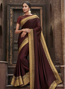Embroidered Work Satin Silk Designer Traditional Saree