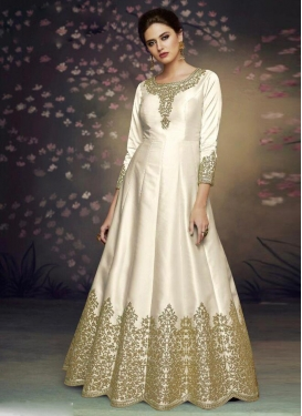 Embroidered Work Satin Silk Floor Length Anarkali Salwar Suit