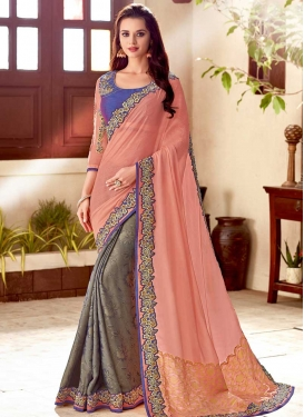Embroidered Work Satin Silk Grey and Peach Half N Half Saree
