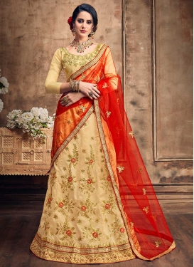 Embroidered Work Satin Silk Lehenga Choli