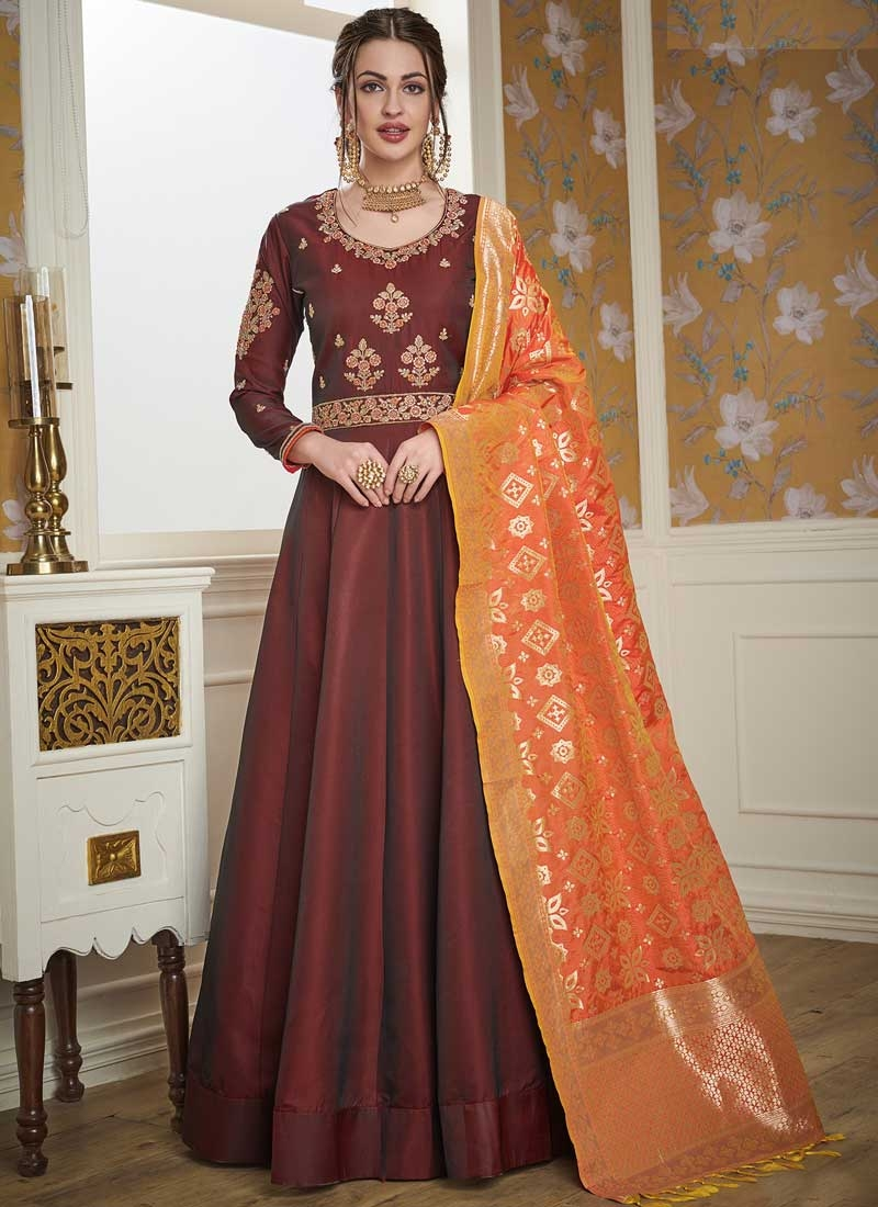 Embroidered Work Satin Silk Readymade Designer Gown