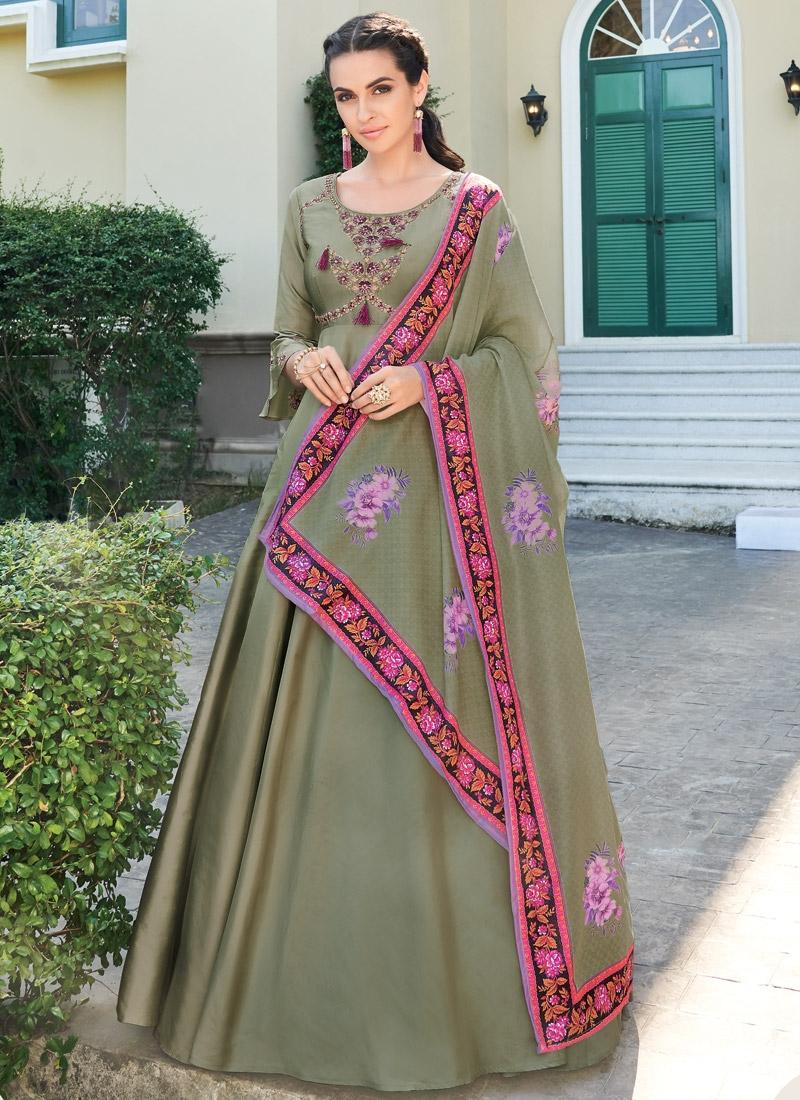 Embroidered Work Satin Silk Readymade Salwar Kameez