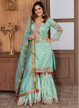 Embroidered Work Satin Silk Sharara Salwar Suit