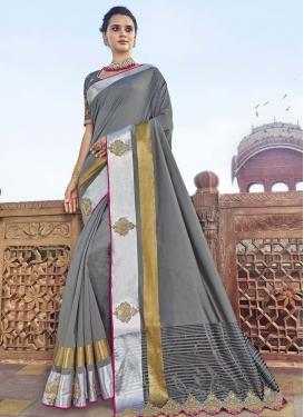 Embroidered Work Satin Silk Traditional Designer Saree