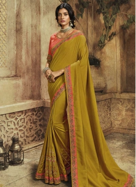 Embroidered Work Satin Silk Traditional Saree