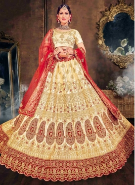 Embroidered Work Satin Silk Trendy A Line Lehenga Choli