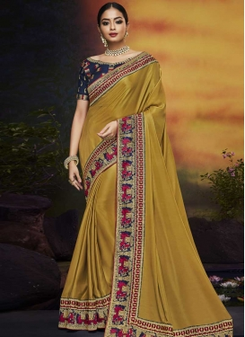 Embroidered Work Satin Silk Trendy Classic Saree
