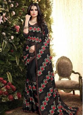 Embroidered Work Satin Silk Trendy Classic Saree