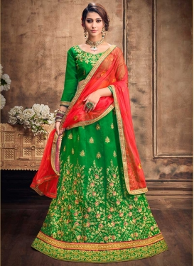 Embroidered Work Satin Silk Trendy Lehenga