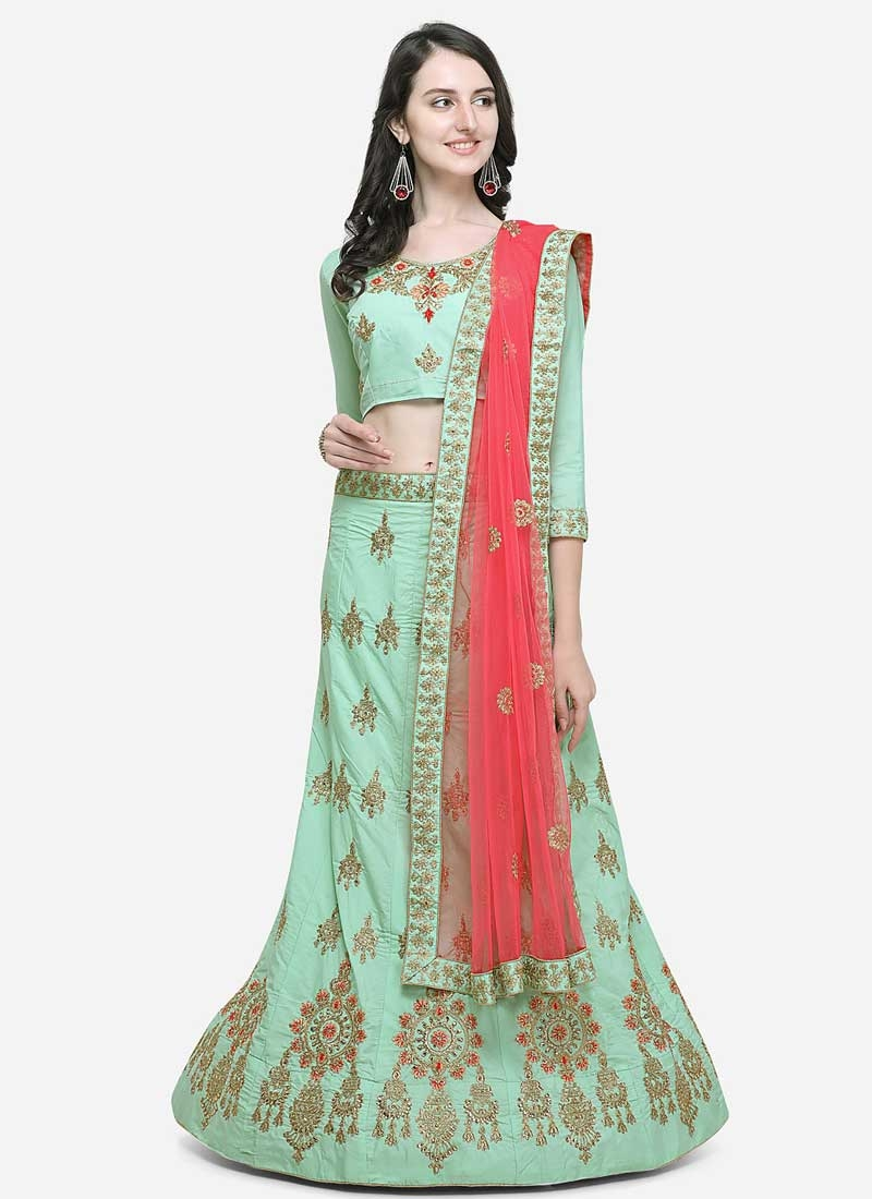 Embroidered Work Satin Silk Trendy Lehenga