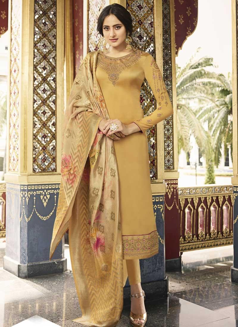 Embroidered Work Satin Silk Trendy Pakistani Salwar Suit