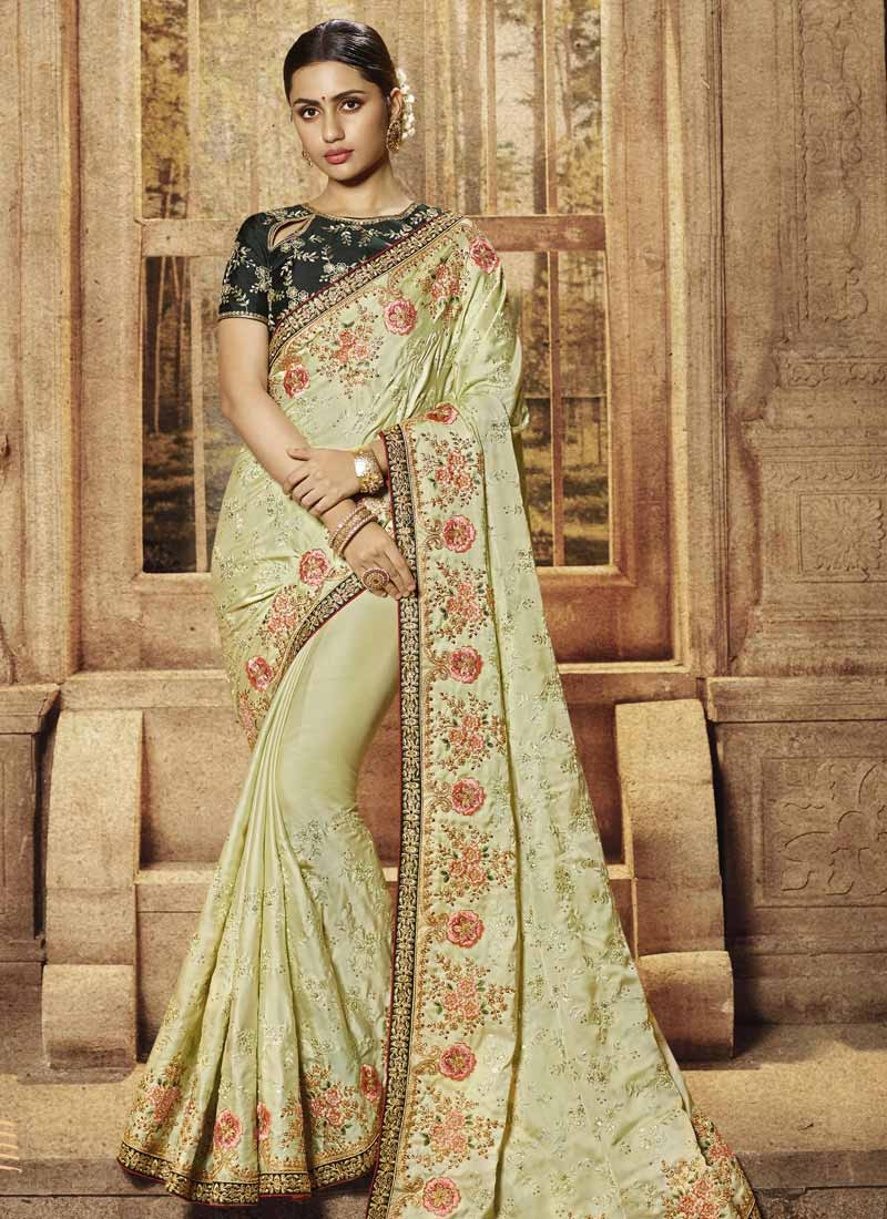 Embroidered Work Satin Traditional Designer Saree