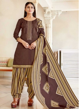 Embroidered Work Semi Patiala Salwar Kameez For Casual