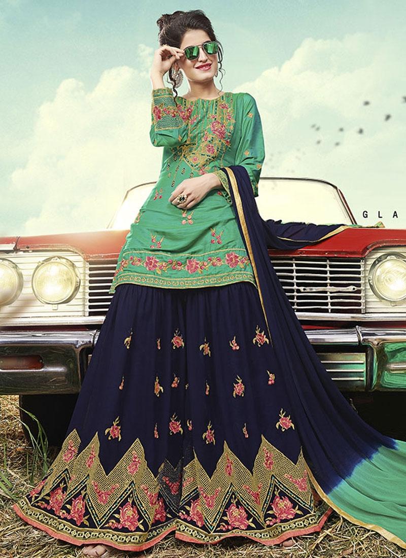 Embroidered Work Sharara Salwar Kameez