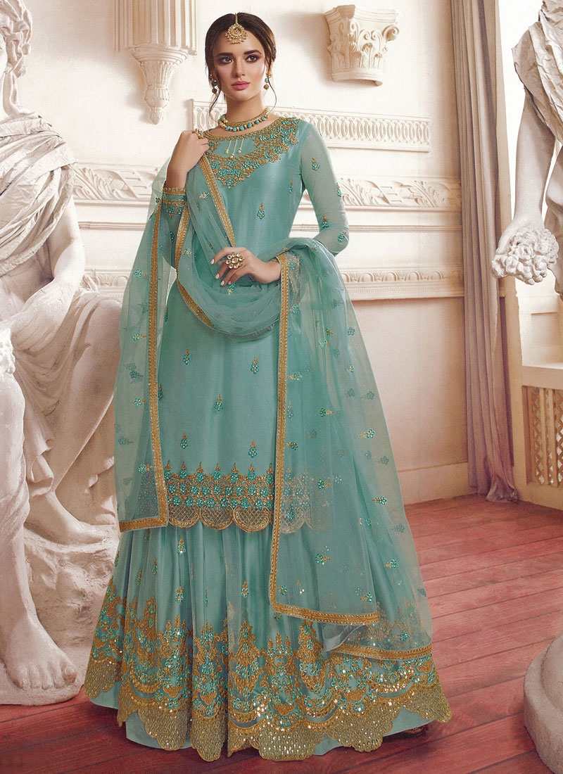 Embroidered Work Sharara Salwar Kameez