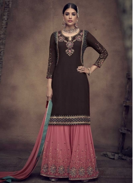 Embroidered Work Sharara Salwar Suit