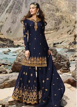 Embroidered Work Sharara Salwar Suit