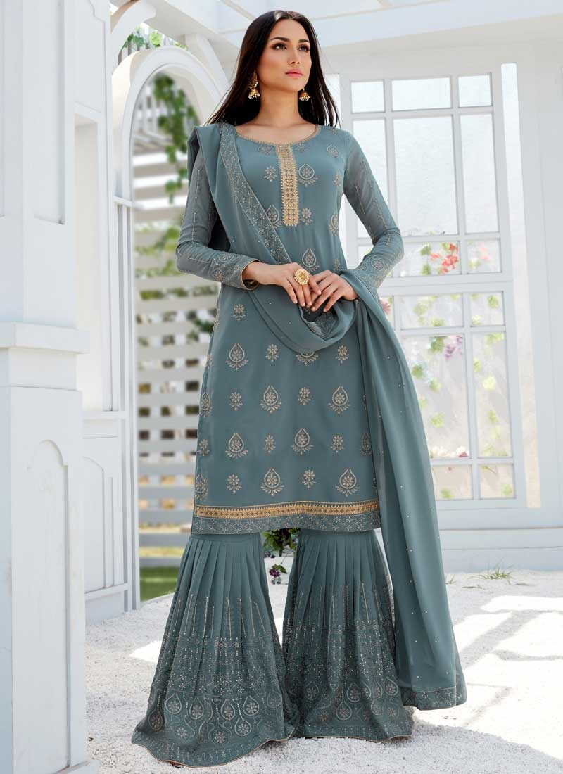Embroidered Work Sharara Salwar Suit For Festival