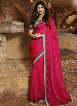 Embroidered Work Shilpa Shetty Satin Silk Designer Contemporary Style Saree
