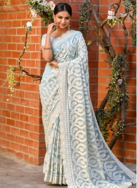 Embroidered Work Shimmer Georgette Designer Contemporary Style Saree