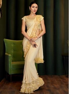 Embroidered Work Silk Georgette Designer Contemporary Style Saree