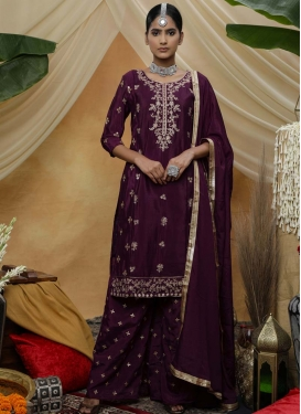 Embroidered Work Silk Georgette Palazzo Salwar Kameez