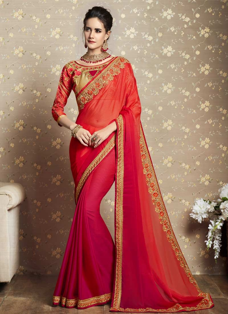Embroidered Work Silk Georgette Rose Pink and Tomato Classic Saree