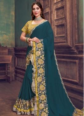 Embroidered Work Silk Georgette Traditional Designer Saree