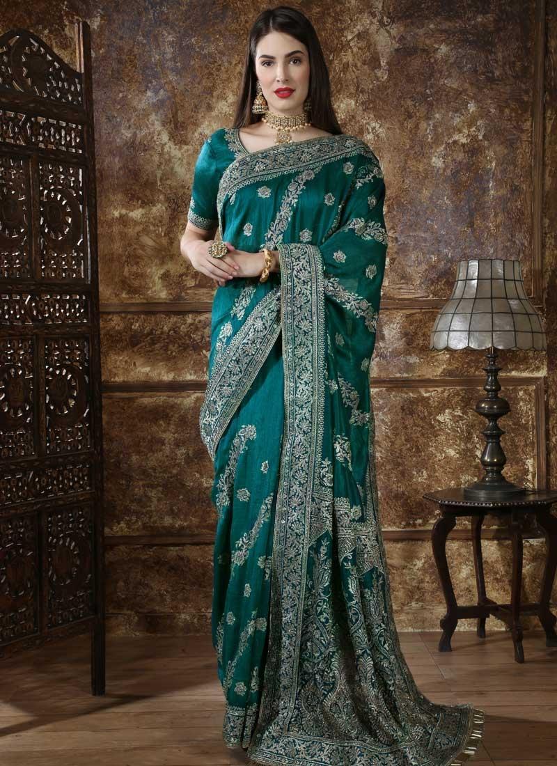Embroidered Work Silk Trendy Classic Saree