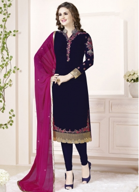Embroidered Work Straight Pakistani Salwar Kameez