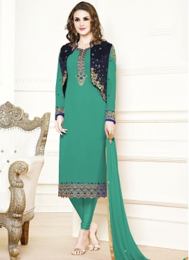 Embroidered Work Straight Pakistani Salwar Suit
