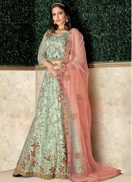 Embroidered Work Tafeta Silk A - Line Lehenga