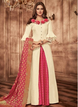 Embroidered Work Tafeta Silk Cream and Rose Pink Readymade Trendy Gown