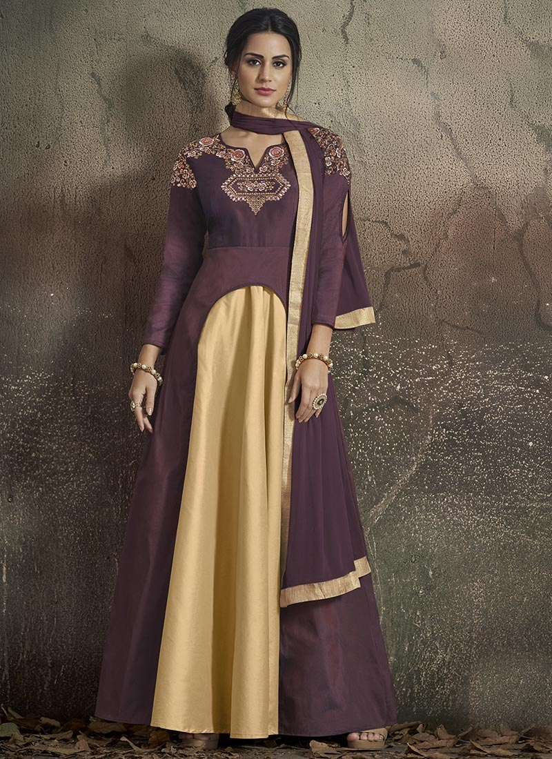 Embroidered Work Tafeta Silk Cream and Wine Readymade Layered Gown