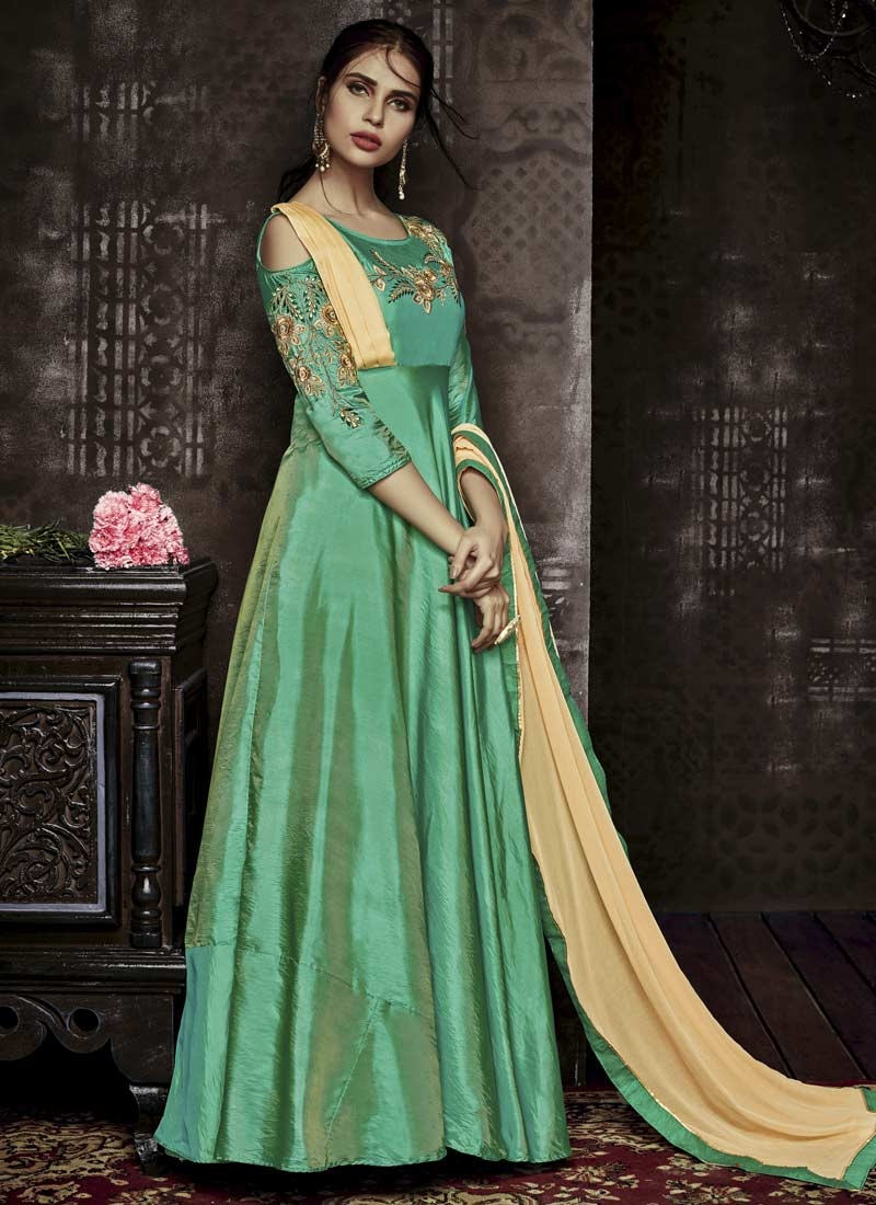 Embroidered Work Tafeta Silk Floor Length Trendy Gown