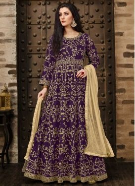 Embroidered Work Tafeta Silk Long Length Anarkali Salwar Suit