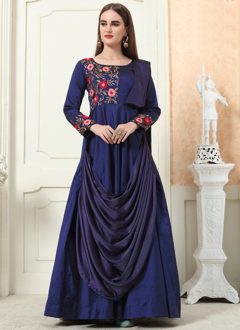 Embroidered Work Tafeta Silk Readymade Designer Gown