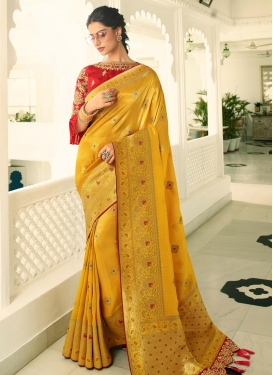 Embroidered Work Traditional Saree For Bridal
