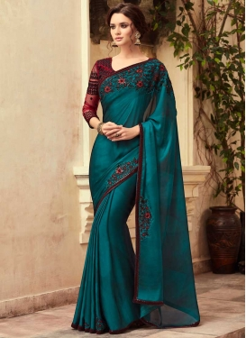 Embroidered Work Traditional Saree For Festival
