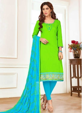 Embroidered Work Trendy Churidar Salwar Kameez For Casual